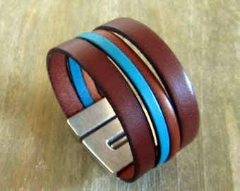 Cuff Bracelet men Leather Brown/Turquoise, magnetic 30MM silver plated clasp.