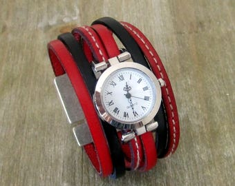 Watch black leather strap and red, plate money loving 30MM clasp