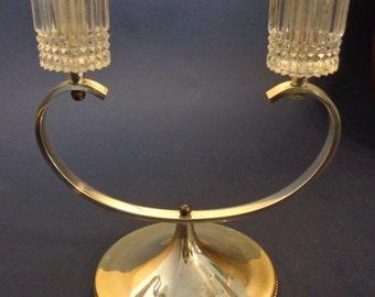 Vintage Art Deco Two Silver Glass Candle Holder Unique Retro Home Decor Candle Holder