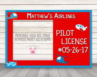 PRINTABLE Pilot License Photo Booth Frame, Airline Photo Booth Frame, Pilot PhotoBooth Frame, Airplane Photo Booth, Pilot's License Photo