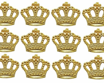 Set of 12 fondant gold or silver crown cupcake toppers. Any other color also possible.