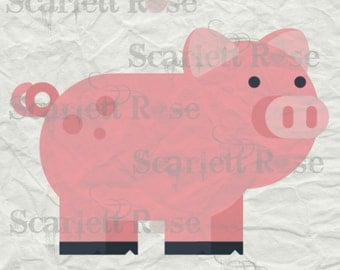 Farm Animal Pig SVG - svg cutting file for Cricut & Silhouette - Instant Download