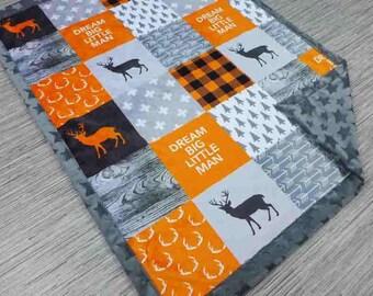 PERSONALIZED baby minky blanket, boy child blanket, orange lumberjack blanket deer woodland blanket, rustic cuddle blanket, baby shower gift