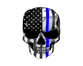 Thin Blue Line Skull Decal
