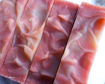 Pink Sugar Soap, 3 Bars, Bulk Soap, Organic Sunflower Oil, Rose Kaolin Clay, Artisan, Cold Process Soap, Vegan, Handmade