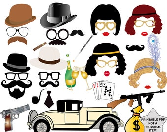 """Prohibition Photo Booth props: """"GREAT GATSBY PROPS"""" 20s Party Photobooth Props,Roaring 20s party,Gangster party props, Prohibition party"""