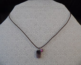 Leather Amethyst pendant Necklace