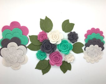 28pcs Wool Felt Rose Flower, DIY Felt Flower, Die Cut Felt Flower.