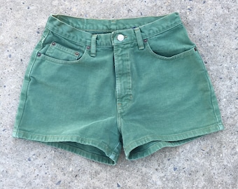 Vintage 90s Gap Green Color Mid Rise High Rise Denim Shorts - Size 8 - Made in USA