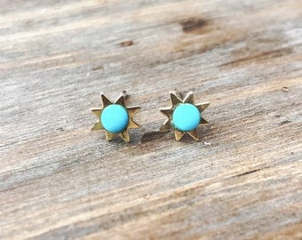 Sun and Turquoise Stud Earrings // star earrings // December birthstone // sterling silver // gold filled