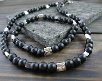 Black Jewelry set for men Mens Jewelry Gemstone Black beaded necklace Jewelry for men Mens necklace Black Gemstone beaded set Mens gift