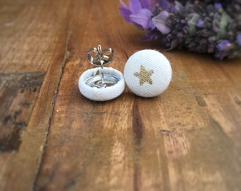 Gold Star Earrings. Gold and White. Handmade Earrings. Fabric Covered Button Earrings. Stud Earrings. Clip On Earrings.