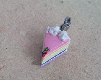 Rainbow cake piece pastel, pendant, charm for fabulous creatures, unicorns and pleasure-lover