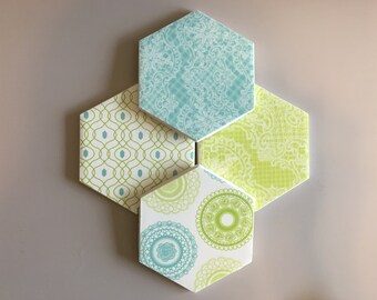Coasters, Blue Coasters, Green Coasters, Decorative Coasters, Set of 4 Coasters, Tile Coasters, Drink Coasters, Ceramic Coasters