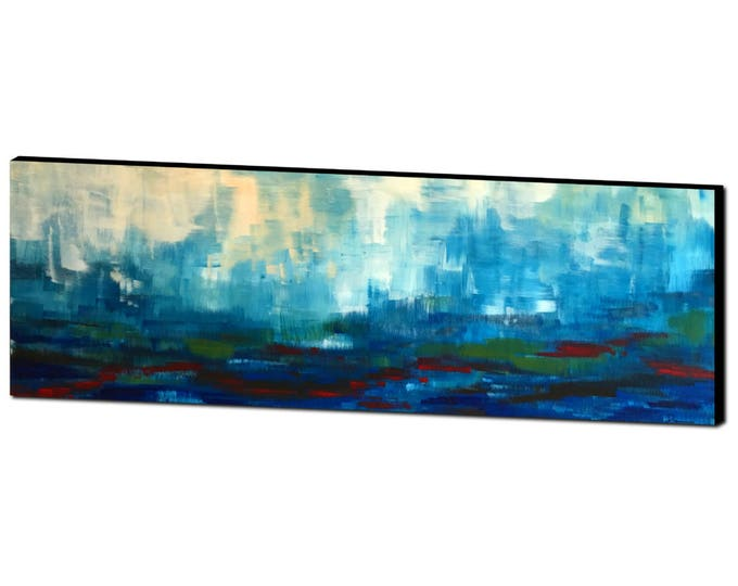 Art Canvas Print Giclee Painting landscape -- modern abstract scenic foothills, fog, clouds, moody wet sky and land, soothing dreamy, 20x60