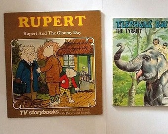Vintage Children's Paperback Story Books x2 - Rupert and Elephant Boy