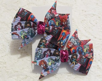 Monster High Character Hair Clip Bows, 1 Pair, Alligator Clips, Hair Accessories, Little Girls Fashion Hand Crafted