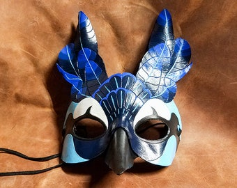 Leather Magpie Jay Mask - Made to Order