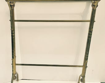 Quilt Rack, Antique Brass Stand, Towel Stand Brass, Free standing towel stand, Blanket holder, Display rack