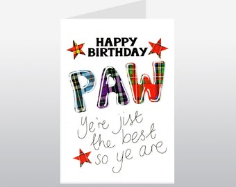 Tartan Words Paw Birthday card WWTW33