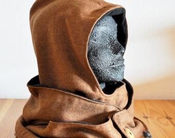 Hooded Scarf Brown