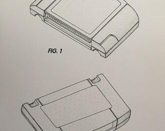 Nintendo N64 cartridge patent print artwork A4