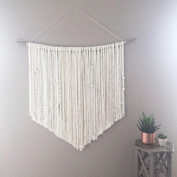 Large Yarn Wall Hanging /READY TO SHIP/  Braids Knots Cream White Neutral / Nursery Art / Home Decor / Boho / Wall Art /