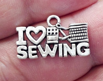Set of 13 I LOVE SEWING charms  , Jewelry Making  /U18