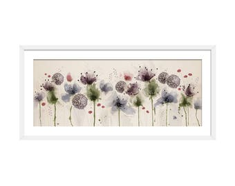 Floral Art Print. Flower Print. Flower Painting. Floral Painting. Thistle Print. Berry Print. Wall Art. Wall Decor
