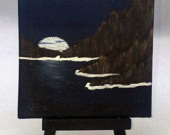 Moonlit Cove - Small Art Painting with Desktop Easel, 4 x 4 inch