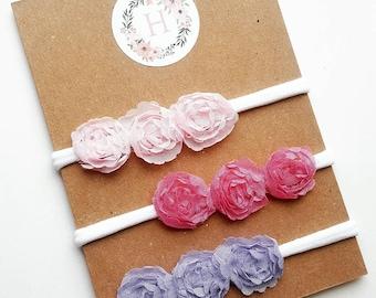 Light pink, hot pink, or purple flower headband