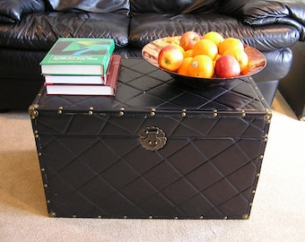 Black Faux Leather Steamer Trunk Wood Storage Wooden Treasure Chest