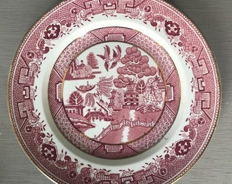 Vintage 1950s Victoria Porcelain (Fenton) Ltd Pink and White Willow Side Plate