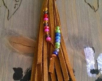 Bag Keychain leather glass beads