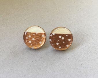 20mm Copper and White Spot Resin/Bamboo Round Studs • Earrings • Hypoallergenic • Surgical Steel • Glossy