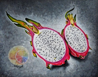 "Dragon Fruit Painting, Exotic Fruit, 8""x10"" original hand painted artwork, realistic dining room decor, kitchen wall art, cafe or home decor"