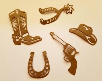 Cowboy Die Cuts, Western Themed Die Cuts, Boot, Gun, Spur, Horseshoe, Cowboy Hat, Scrapbook Pages, Card Making, Invitations, Junk Journals