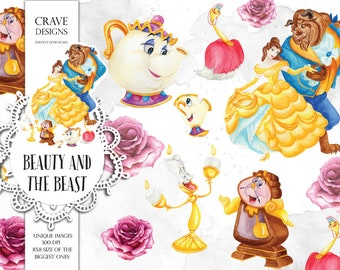 Beauty and The Beast Watercolor Clip Art Disney Clip Art Disney Princess Clip Art Fairy Tail Watercolor Clip Art