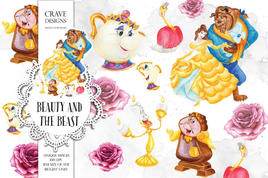 Beauty and The Beast Watercolor Clip Art Disney Clip Art