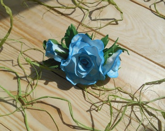 Rose hair clips Blue flowers pin Girl Hair accessories Wedding headpiece Party favor Nice baby gift Handmade Baby shower clip
