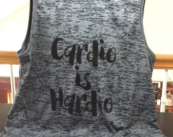 "Sleevless tank, grey/black letters. ""CARDIO IS HARDIO"" size L (loose fit)"