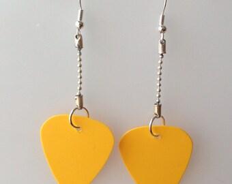 Yellow Guitar Pick Earrings