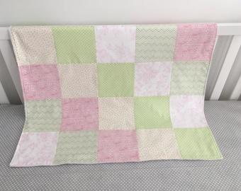Handmade Baby Blanket, Stroller Blanket, Car Seat Blanket, Baby Girl blanket, Minky Blanket, Pink baby Blanket, Patchwork baby blanket
