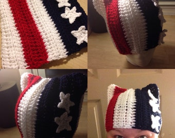 Pussy Hat: pink pussy hat, pussy hat project, kitty hat, cat ear hat, red white and blue, patriotic pussy hat