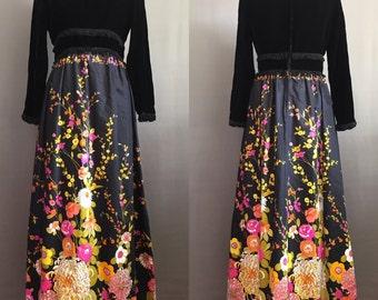 60's Fringed Velvet & Cotton Floral Maxi Dress