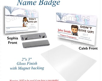 """JW.ORG Convention Name Tag   Spanish or English (Kids version)   """"Don't Give Up!"""" Durable FRP 2""""x3"""""""