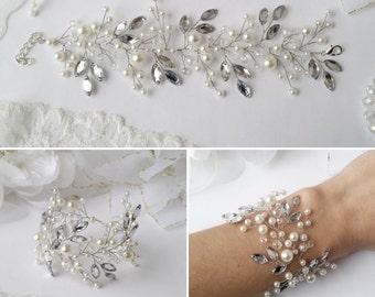 Bridal Hair VineBridal crystal bracelet Silver bridal bracelet White crystals bracelet Wedding jewelry art deco vintage boho bracelet beads1