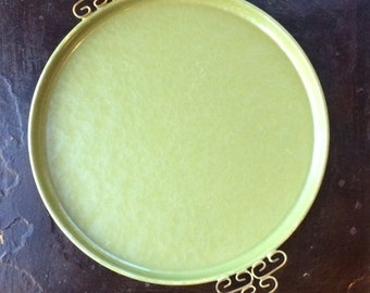 Vintage Kyes Moire Round Serving Tray