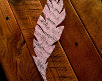 Shabby Chic Bonnet Pink Rustic  - Wood feather cutout pallet wall art - Barnwood - Big - Chunky
