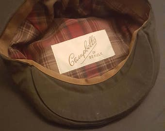 Vintage 1980s Flat-Cap, Campbell's of Beauly, canvas wax look
